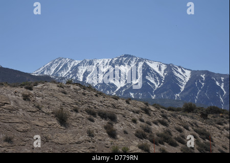 Snow peaks in the mountain's of Nevada. - Stock Photo