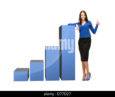 businesswoman with big 3d chart - Stock Photo