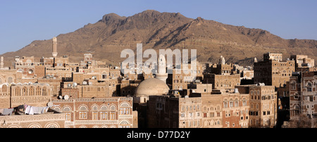 Panorama picture from Sana'a old city - Stock Photo