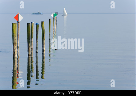 Katamaran speed boat and sailing boat, Immenstaad Lake Constance Baden-Württemberg Germany - Stock Photo