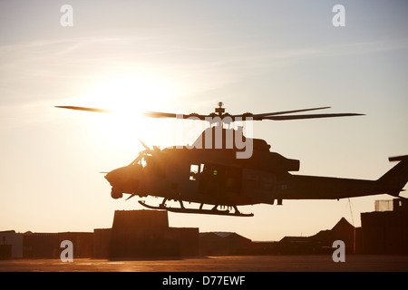 United States Marine Corps UH-1Y Venom helicopter as it embarks on combat operation in Helmand Province Afghanistan - Stock Photo