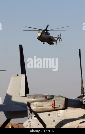 United States Marine Corps CH-53D Sea Stallion prepares to land United States Marine Corps MV-22 Osprey in foreground - Stock Photo