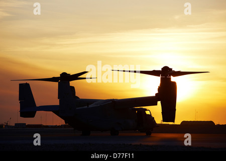 Silhouette United States Marine Corps MV-22 Osprey Camp Bastion Helmand Province Afghanistan - Stock Photo