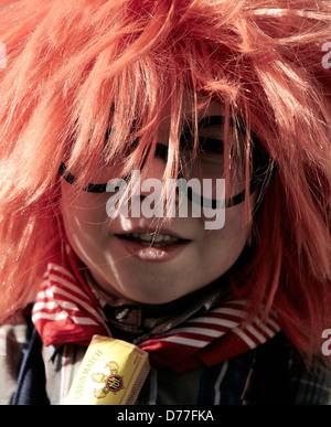 Belgium Walloonia Liege province Malmedy city carnival girl's portrait - Stock Photo