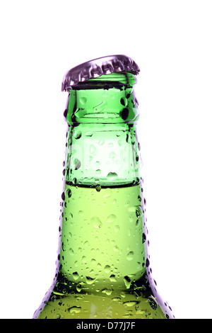 beer bottle with water droplets, green bottle closeup isolated on white - Stock Photo