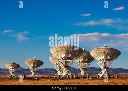 Radio telescopes in field Very Large Array National Radio Astronomy Observatory Socorro New Mexico USA - Stock Photo