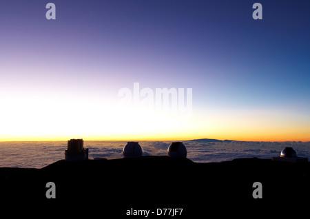 Silhouette observatories Mauna Kea Observatory Mauna Kea Hawaii Islands Hawaii USA - Stock Photo