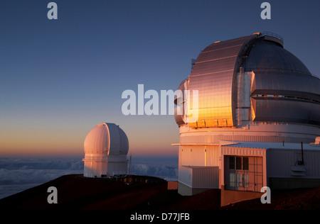 Gemini Observatory Canada-France-Hawaii Telescope on mountain Mauna Kea Hawaii Islands Hawaii USA - Stock Photo