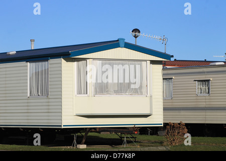 Scenic view of mobile homes on caravan park, England. - Stock Photo