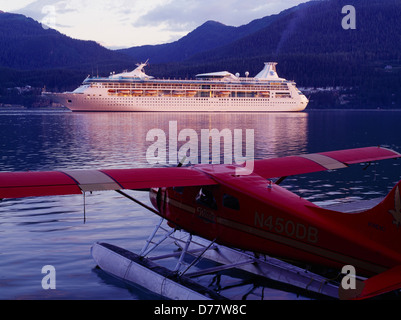 Cruise ship Rahapsody Seas in Gastineau Channel beyond Wings Alaska de Havilland DHC2 Beaver Juneau Alaska. - Stock Photo