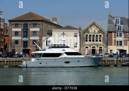 Luxury yacht moored in Weymouth harbour England uk - Stock Photo