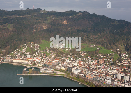 CITY OF BREGENZ (aerial view). Capital of Vorarlberg at the foot of Pfänder Mountain and the shore of Lake Constance, - Stock Photo