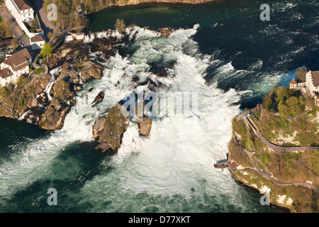 RHINE FALLS (aerial view). Large waterfall on the Rhine River near the town of Schaffhausen, in northern Switzerland. - Stock Photo