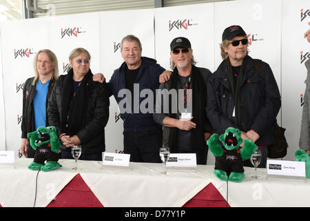 Guitarist Steve Morse (L-R), drummer Ian Paice, singer Ian Gillan, bassist Roger Glover and organist Don Airey of - Stock Photo