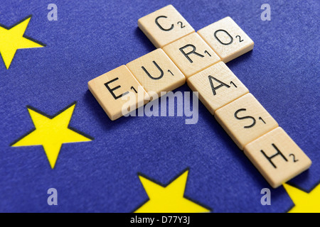 Stroke eurocrash on an EU flag - Stock Photo