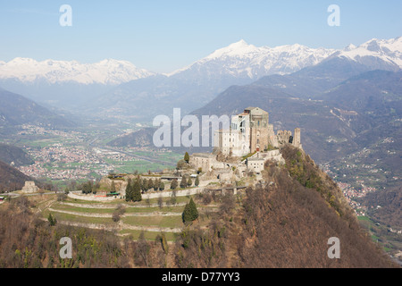 SACRA DI SAN MICHELE (aerial view). Abbey on a rocky promontory ...