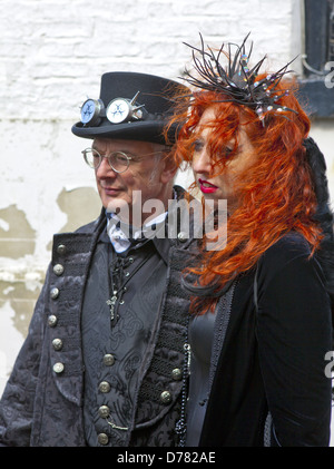 Senior man and with his daughter in Gothic attire at Whitby Gothic Weekend.  Whitby, England on 27, April 2013. - Stock Photo