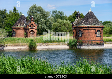 Historical racketeer's small houses in cold court, Rothenburgsort, Hamburg, Germany, Europe - Stock Photo