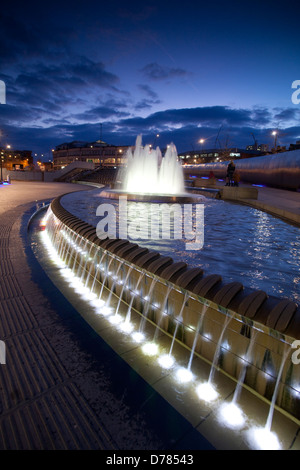 Sheaf Square , Sheffield at night - Stock Photo