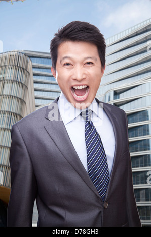 Portrait of Man Shouting - Stock Photo