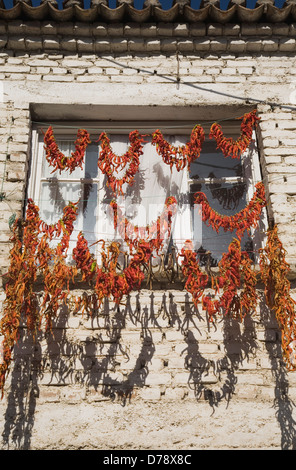 Turkey Aydin Province Kusadasi Strings of red orange chilies hung up to dry in late afternoon summer sunshine across - Stock Photo