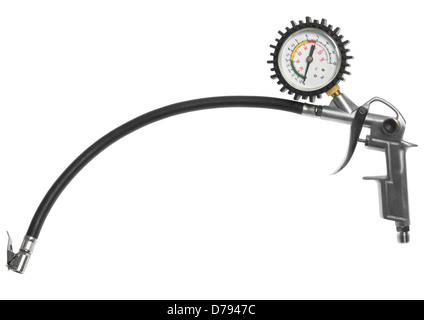 Tyre inflater with pressure gauge air tool on white background - Stock Photo