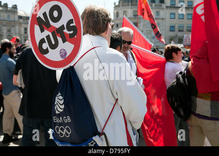 01 May 2013 - 14.47pm -  May Day Rally Demonstration Takes Place in Trafalgar Square, London - England - UK - Stock Photo