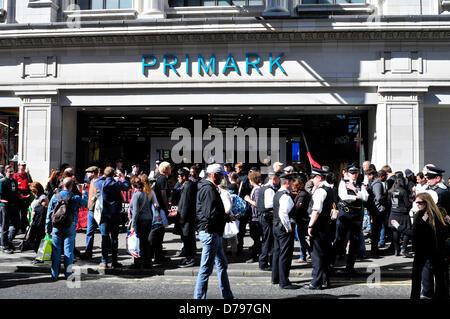 Protesters outside Primark in Oxford Street, London, UK - Stock Photo