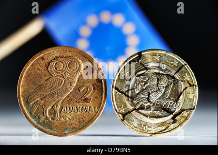 Greek drachm, Greek euro-coin one and EU flag , Griechische Drachme, griechische Ein-Euro-Münze und EU-Fahne - Stock Photo