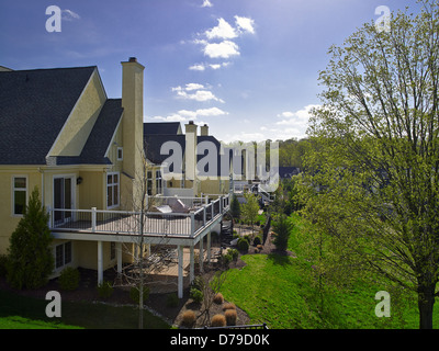 Row Of Suburban Houses, Back Porches - Stock Photo