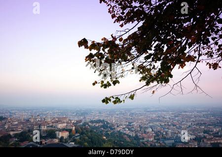 Italy, Lombardy, Bergamo, Citta Alta High Town, Seen From San Vigilio at Sunset - Stock Photo