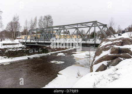 Bridge over the river Vantaa to the Museum of Technology in the 'Old Town' part of Helsinki, Finland - Stock Photo