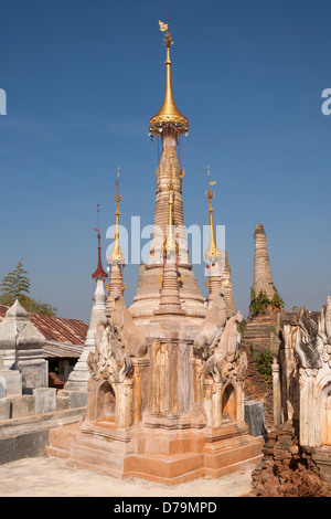 One of the numerous stupas at the Shwe Indein Pagoda, Indein, Shan State, Myanmar, (Burma) - Stock Photo