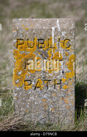 Public foot path sign - Stock Photo