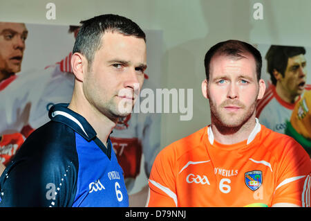 1st May 2013, Belfast, Northern Ireland.  Players from Cavan and Armagh county teams help Ulster GAA launch the - Stock Photo