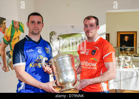 1st May 2013, Belfast, Northern Ireland.  Players from Cavan and Armagh county teams hold the Anglo-Celt cup as - Stock Photo