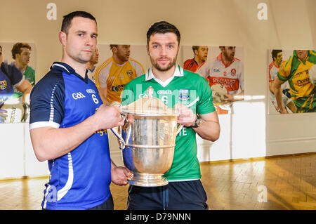 1st May 2013, Belfast, Northern Ireland.  Players from Cavan and Fermanagh county teams hold the Anglo-Celt cup - Stock Photo