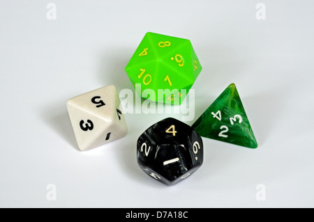 Platonic dice selection against a white background. - Stock Photo