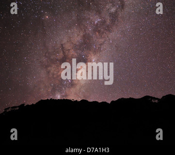 View of Milky Way and millions of stars during night at West Coast region, New Zealand - Stock Photo