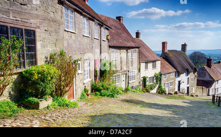 A row of English cottages at Gold Hill in Shaftesbury, Dorset - Stock Photo