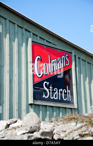 Vintage enamel advertising sign for Colmans Starch England UK United Kingdom GB Great Britain - Stock Photo