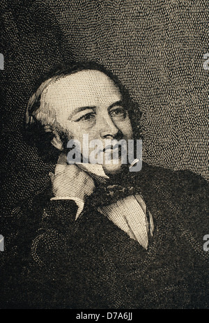 Sir Rowland Hill (1795-1879). Teacher and creator of the first British postage stamp in history: the Penny Black. - Stock Photo