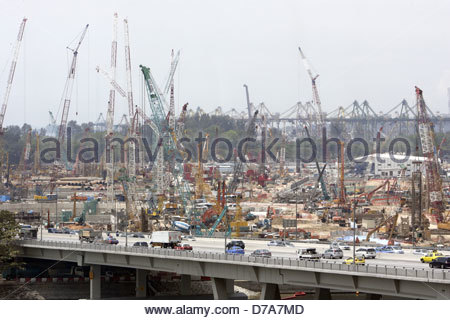 High angle view of a construction site in a city, Singapore - Stock Photo