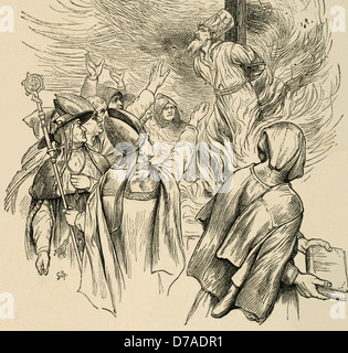 Jan Hus (1369-1415). Czech priest, philosopher, reformer, and master at Charles University in Prague. Burned for - Stock Photo