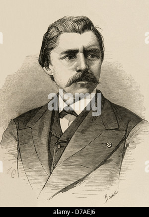 David Edward Hughes (1831 – 1900). Was a Welsh-American scientist and musician. Engraving by A. Carretero. - Stock Photo