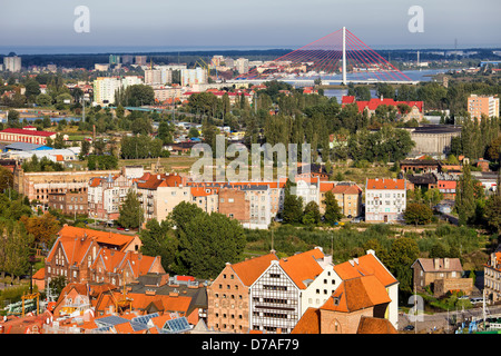 City of Gdansk cityscape in Poland, view from above. - Stock Photo