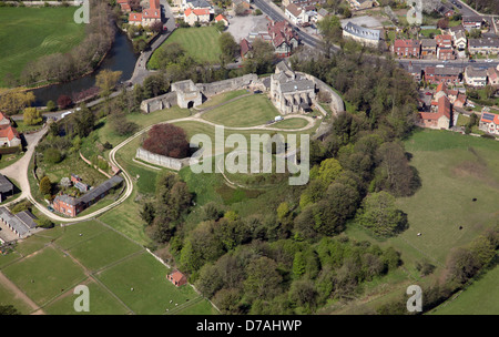 aerial view of Tickhill Castle near Doncaster - Stock Photo