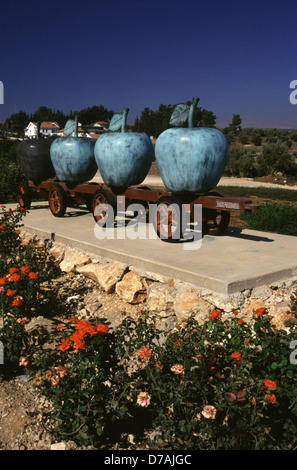 The Apples Sculpture by Asaf Lifshitz in the town of Metula in Upper Galilee Northern Israel - Stock Photo