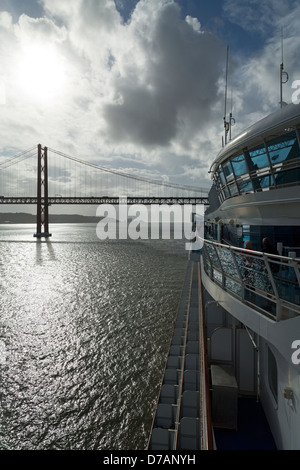25th of April Bridge over the Tagus River,Lisbon, Portugal,Europe - Stock Photo