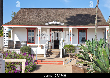 Casa Pedrorena de Altamirano, a 1996 restoration of a 1869 adobe family home with a wooden columned front porch; - Stock Photo